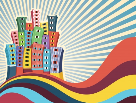 Colorful Buildings Vector Illustration