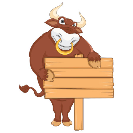Vector Illustration Of A Bull With Wooden Banner Vector