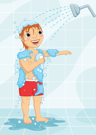 Young Boy Having Shower Vector Illustration  イラスト・ベクター素材