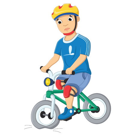 Boy and Destroyed Bicycle Vector Illustration Illustration
