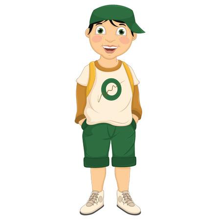 Boy Wearing Hat Vector Illustration