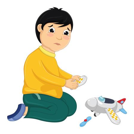 Menino com sua ilustração vetorial de brinquedo quebrado Ilustración de vector
