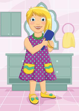 Girl Brushing Hair Vector Illustration
