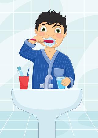 Boy Brushing Teeth Vector Illustration