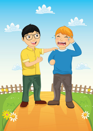 Kid Consoling Friend Vector Illustration Vector