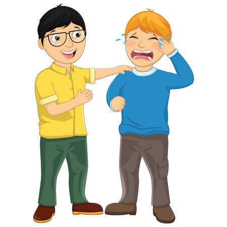 Kid Consoling Friend Vector Illustration