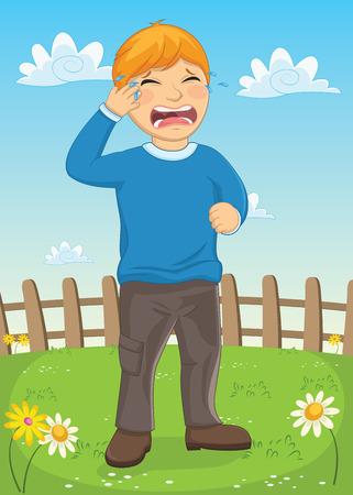 Kid Crying Vector Illustration Vector
