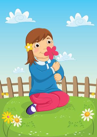 smelling: Girl Smelling Flower Vector Illustration Illustration