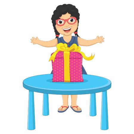 Little Girl Gift Vector Illustration Illustration