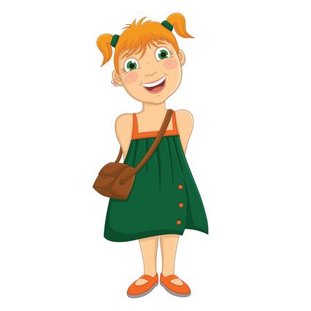 Cute Girl in Green Dress Vector Illustration Illustration