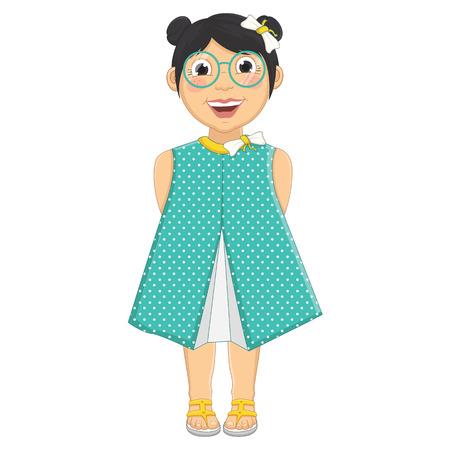 pink dress: Cute Girl Vector Illustration