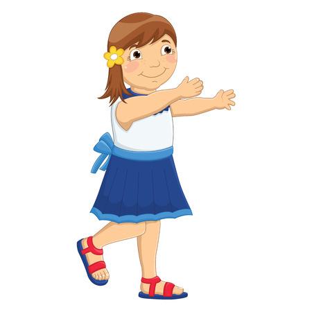 Little Girl Huge Vector Illustration