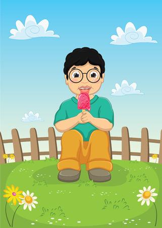 Kid Eating Ice cream Vector Illustration Illustration