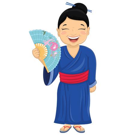 asian kid: Japanese Girl Vector Illustration