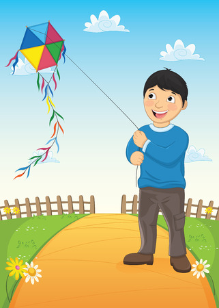 physically: Boy and Kite Vector Illustration
