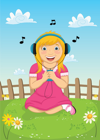 Girl Listening Music Vector Illustration Vector