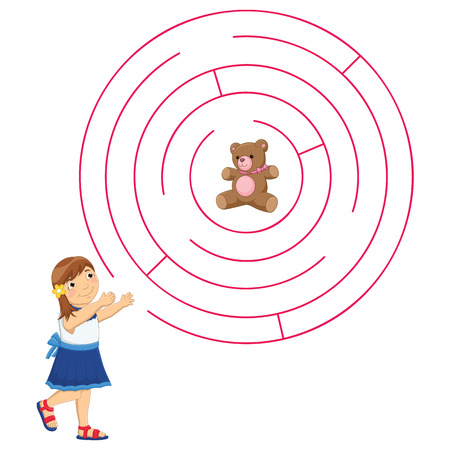 rout: Girl and Maze Vector Illustration