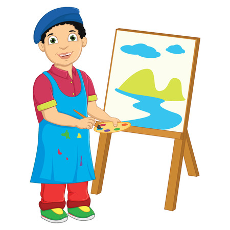 canvass: Boy Painting Vector Illustration