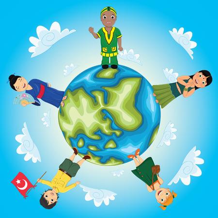 World Kids Vector Illustration Vector