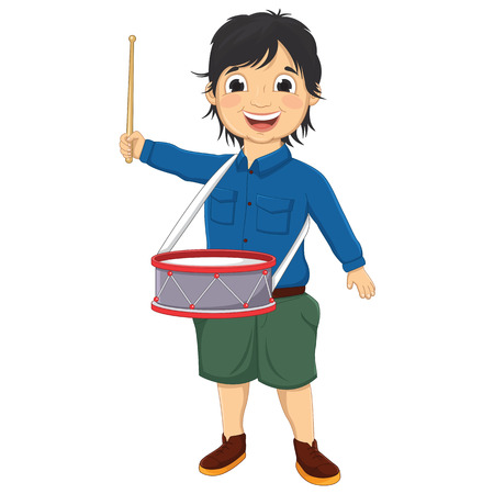 Vector Illustration Of A Little Boy Playing Drum Vector