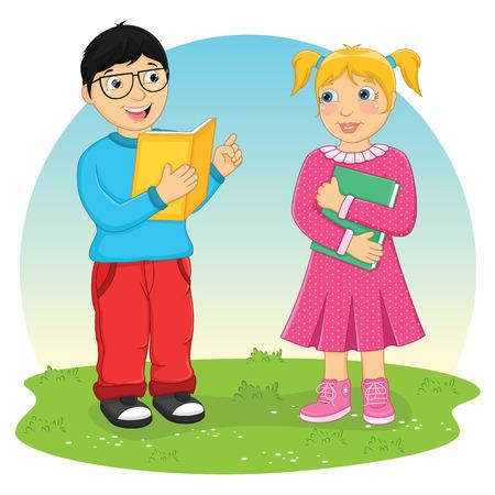 kids reading book: Kids Reading Book Vector Illustration