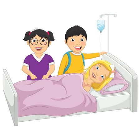 Kids in Hospital Vector Illustration
