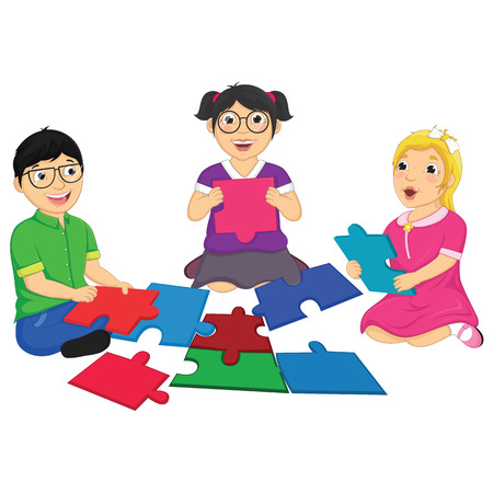 homeschooling: Kids Playing Puzzle Vector Illustration Illustration