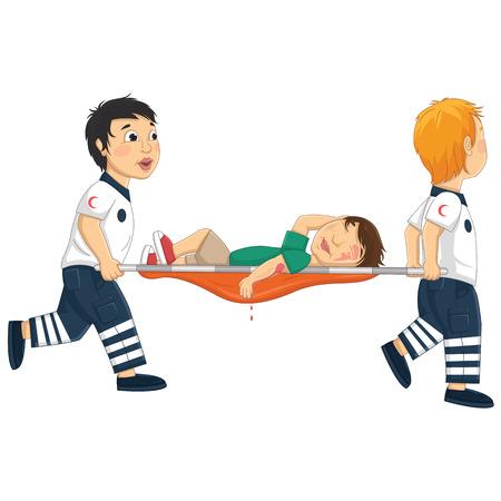 paciente en camilla: Niños Carry Ilustración Vector Camilla
