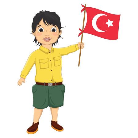 jardin de infantes: Boy con Turkish Ilustraci�n de la bandera Vectores