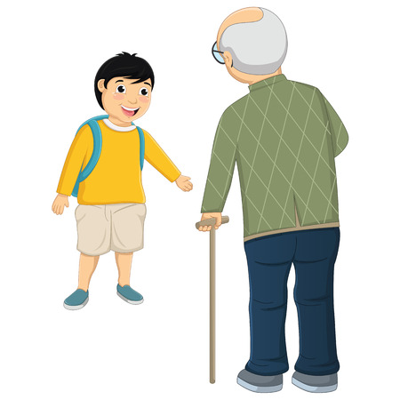 Kid and Old Man Illustration Vector