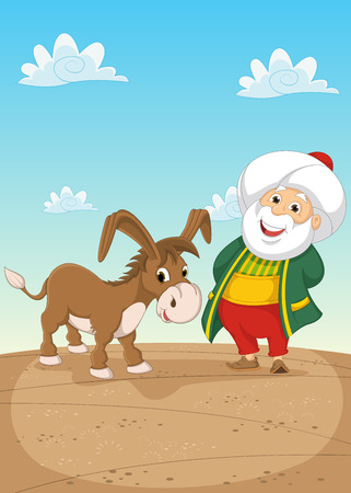 Old Man and Donkey Illustration Vector