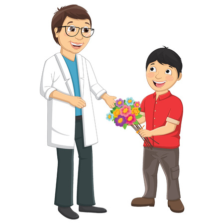 Kid Give Flower To Teacher Vector Illustration  イラスト・ベクター素材
