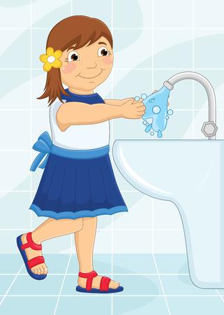 Fille Se laver les mains Illustration Vecteurs