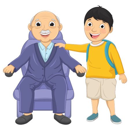 old man sitting: Kid and Old Man Illustration