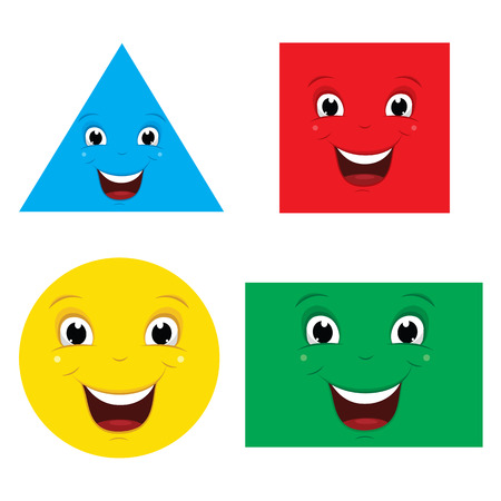 Illustration Of Flat Smiling Shapes Illustration