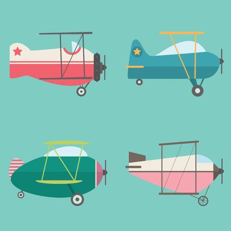 biplane: Set of Retro Airplanes
