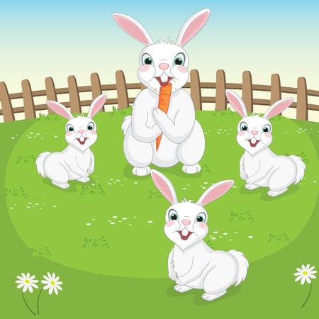 Illustration Of Cute Rabbits