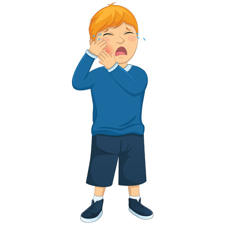 Isolated Kid Tooth Pain Illustration Vector