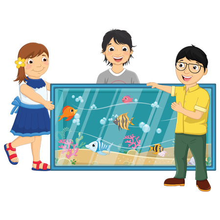 Illustration Of Kids Watching Fishes in an Aquarium Illustration