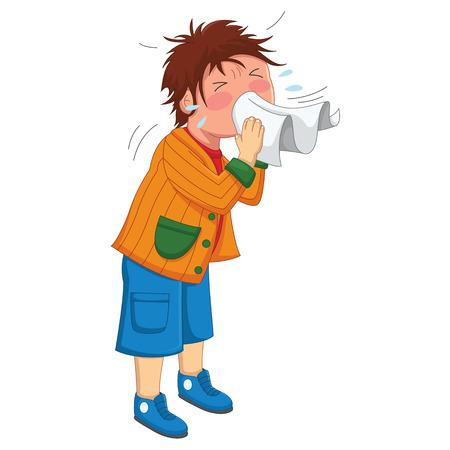 Kid Sneeze Illustration
