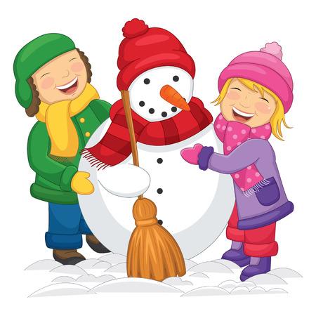 Illustration Of Kids Making Snowman