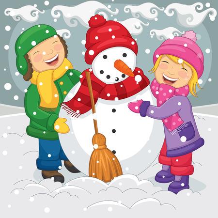 making: Illustration Of Kids Making Snowman