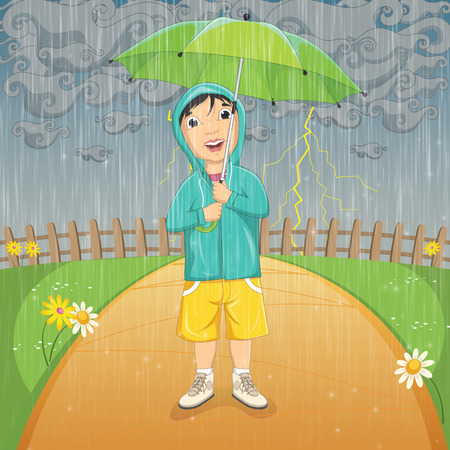 Illustration Of A Little Boy Under Umbrella in Raincoat Standing in the Rain