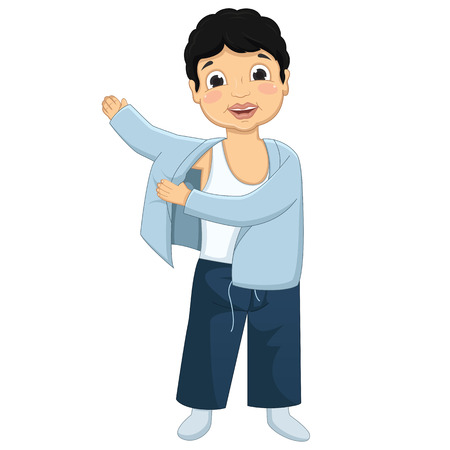 white coat: Boy Wearing Pajamas Illustration