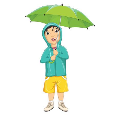 Illustration Of A Little Boy Under Umbrella in Raincoat