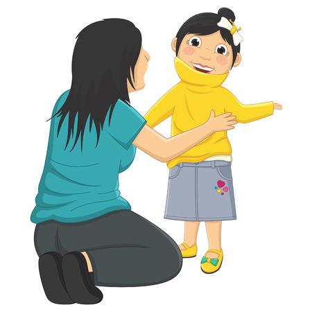 Illustrazione Di Mamma Figlia Aiutare indossa il suo vestiti