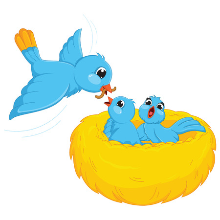 Bird Feed Babies Illustration Vector