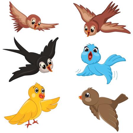 caricatura mosca: Birds Set Ilustración