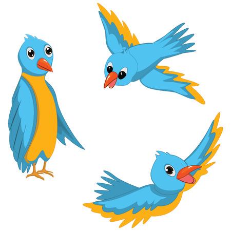 Blue Birds Illustrations Set Vector