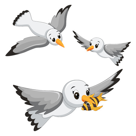 Seagulls Illustrations Vector